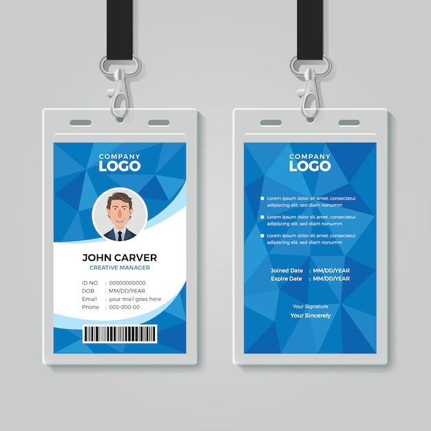 Blauwe veelhoek office id-kaartsjabloon Premium Vector