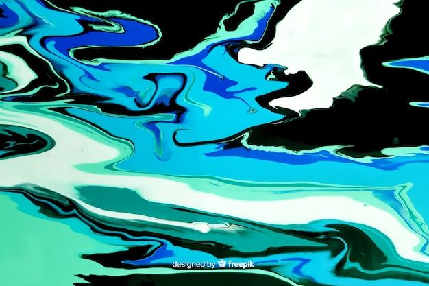 Blauwe verf marmeren textuur achtergrond Gratis Vector