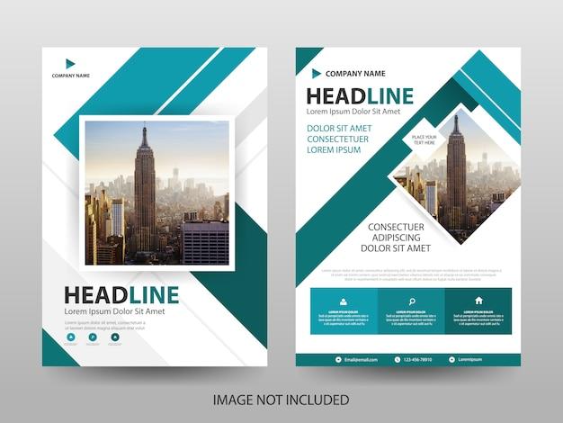 Blauwe vierkante zakelijke brochure folder voorbladsjabloon Premium Vector