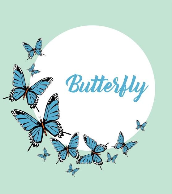 Blauwe vlinders belettering circulaire frame Premium Vector
