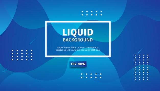 Blauwe vloeibare kleurenachtergrond. Premium Vector