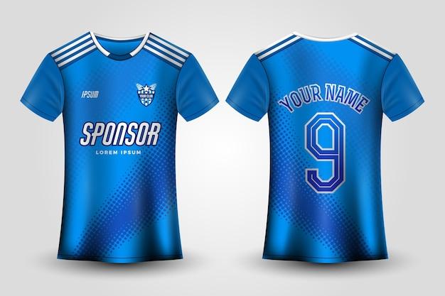 Blauwe voetbaltrui uniform Gratis Vector