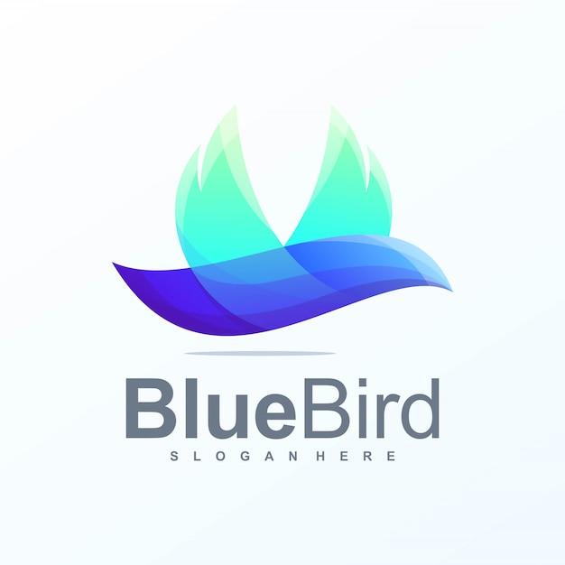 Blauwe vogel logo Premium Vector