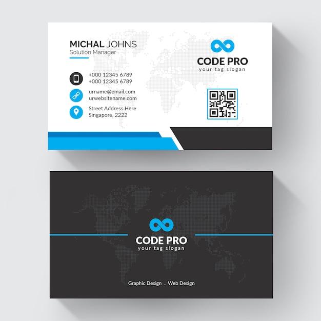 Blauwe vorm bezoek kaart Premium Vector