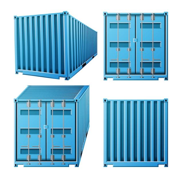 Blauwe vrachtcontainer Premium Vector
