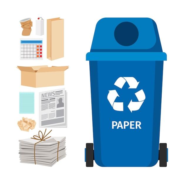 Blauwe vuilnisbak met papieren elementen Premium Vector