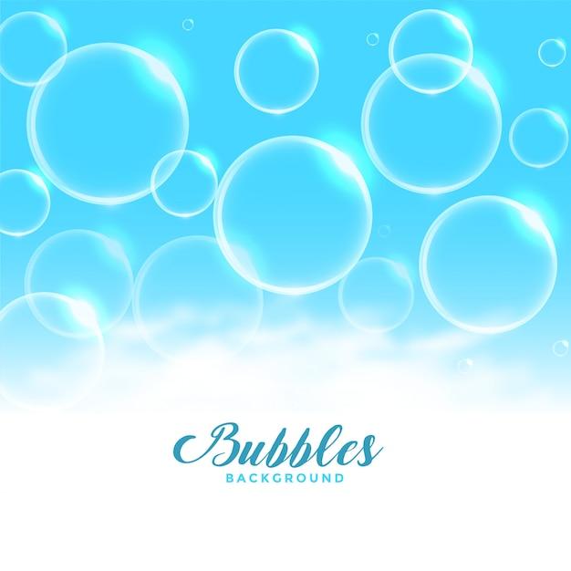 Blauwe water of zeep drijvende bellenachtergrond Gratis Vector