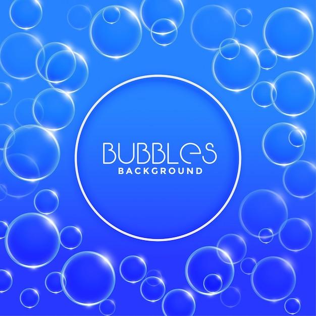 Blauwe water of zeepbelsachtergrond Gratis Vector