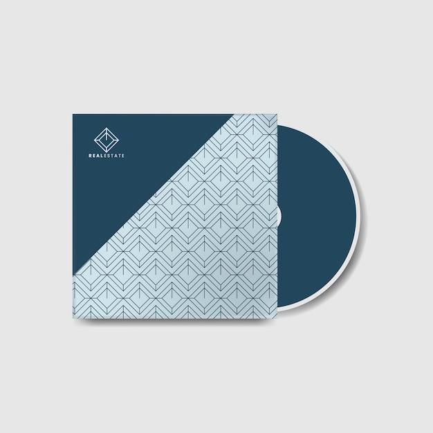 Blauwe zakelijke cd-hoesjabloon Gratis Vector