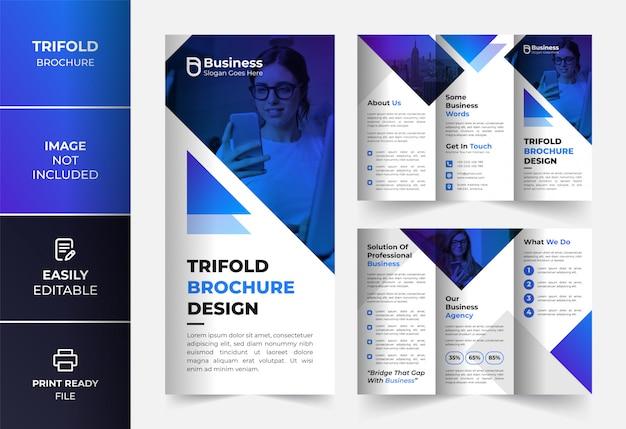 Blauwe zakelijke driebladige brochure ontwerpsjabloon Premium Vector