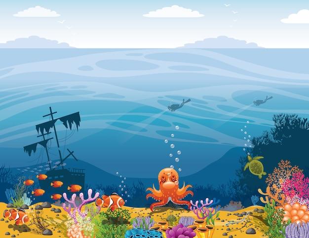 Blauwe zee achtergrond Premium Vector