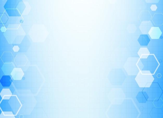 Blauwe zeshoekige molecuul structuur achtergrond Gratis Vector