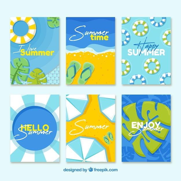 Blauwe zomerkaart collectie Gratis Vector