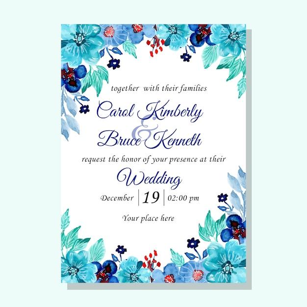 Blauwgroene bruiloft uitnodigingskaart met aquarel bloem Premium Vector