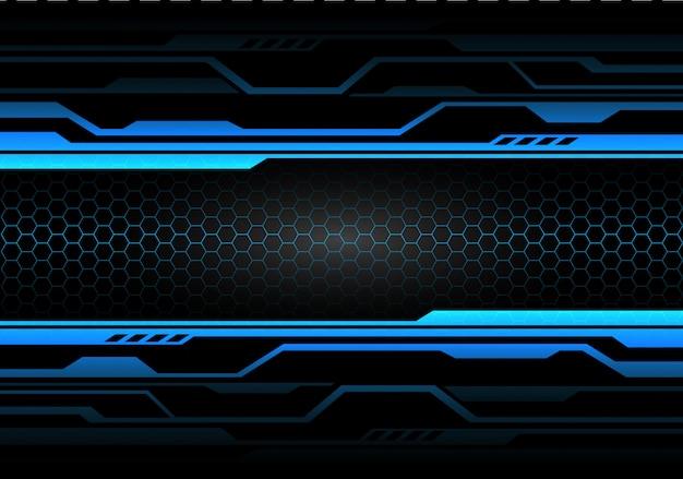 Blauwlichtcircuit op zwart met hexagon mesh-technologie. Premium Vector
