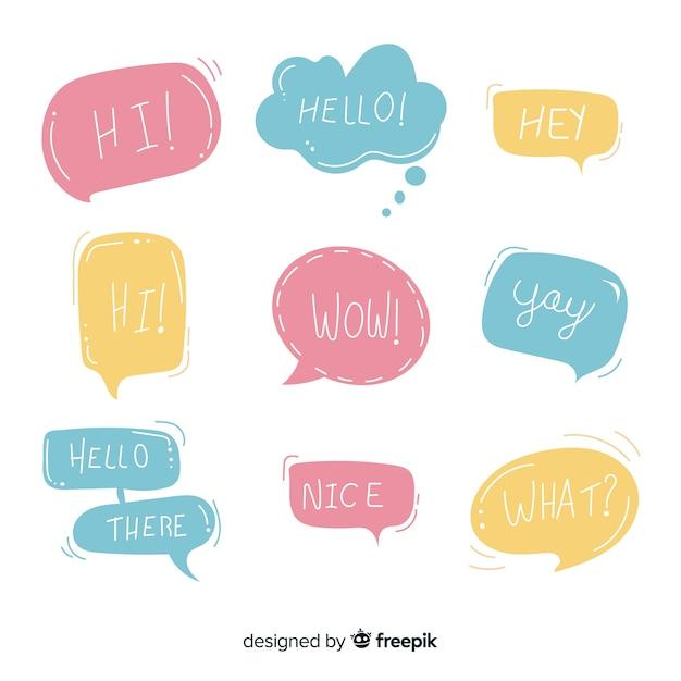 Bleke kleurrijke tekstballonnen met verschillende uitdrukkingen Gratis Vector
