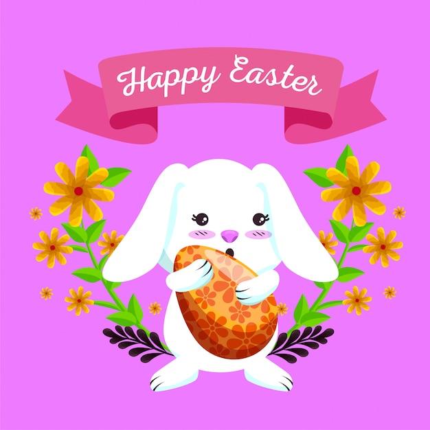 Blij konijn met ei en bloemen planten Gratis Vector