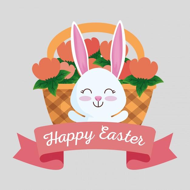Blij konijn met lint en bloemen in de mand Gratis Vector