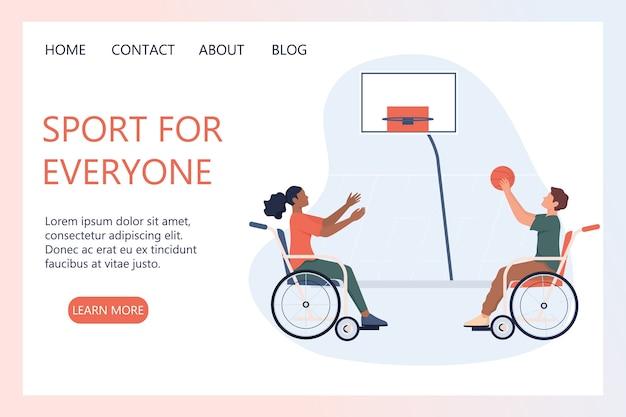 Blije gehandicapten in rolstoel die basketbal spelen. concept van adaptieve sporten voor mensen met een handicap. ableïsme concept. handicap webbanner of bestemmingspagina. Premium Vector