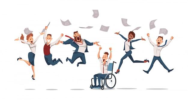 Blije kantoormedewerkers springen omhoog. office fun. Premium Vector