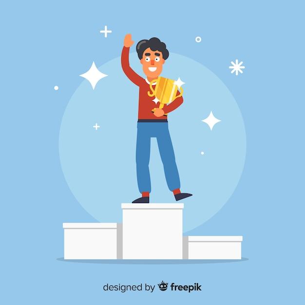 Blije karakter winnende prijs met plat ontwerp Gratis Vector
