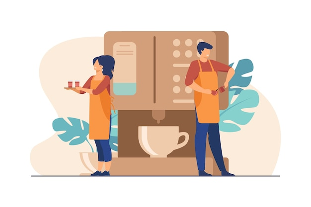 Blije kleine barista die koffie zet bij een enorme machine. serveerster met dienblad met papieren bekers vlakke afbeelding. Gratis Vector