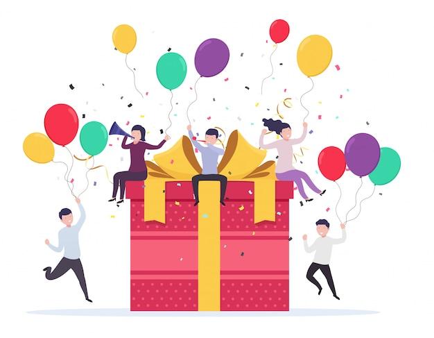Blije mensen die opduiken in de buurt van een geschenkdoos met ballonnen, confetti, fluitjes en feesttrompetten. verjaardag viering concept, bedrijfsevenement. Premium Vector