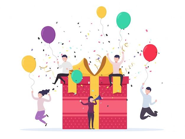 Blije mensen springen uit de buurt van een geschenkdoos met ballonnen, confetti. verjaardag viering concept, bedrijfsevenement. Premium Vector