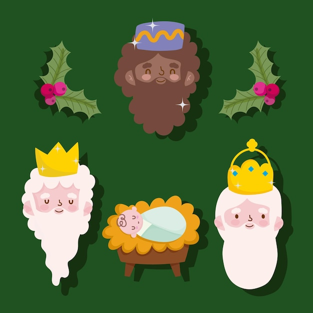 Blije openbaring, drie wijze koningen gezichten en baby jezus Premium Vector