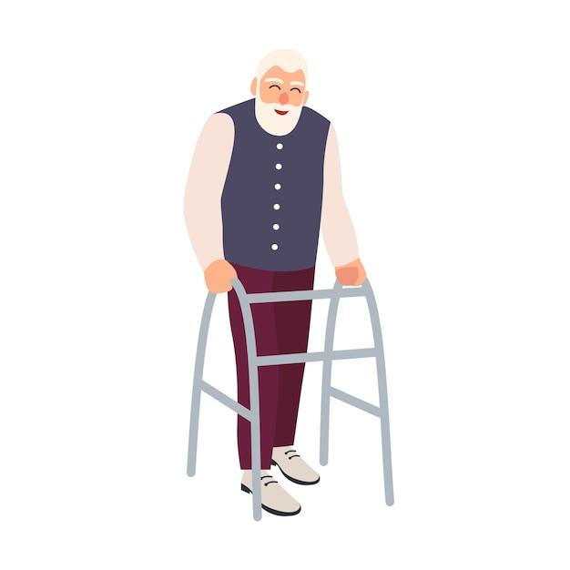 Blije oudere man met looprek of rollator geïsoleerd. oude, bebaarde mannelijke personage met een lichamelijke handicap of handicap Premium Vector