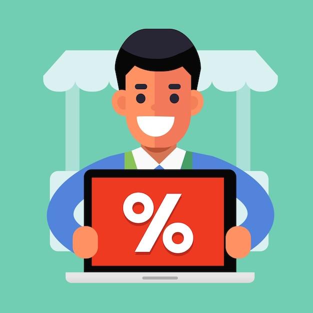 Blije verkoper met online promotie Premium Vector