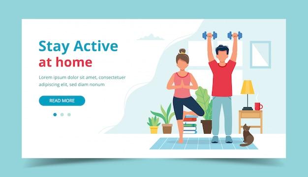 Blijf actief thuis concept. mensen doen oefening in gezellige, moderne interieur Premium Vector