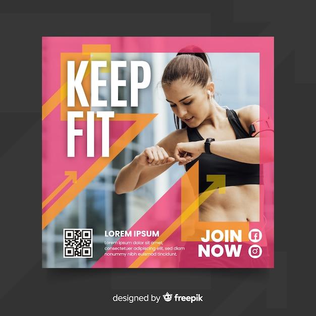 Blijf fit sport flyer met foto Gratis Vector