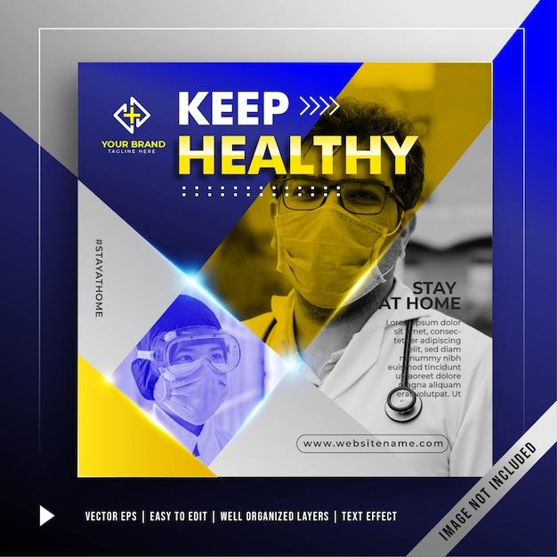Blijf gezond banner promotie sjabloon Gratis Vector