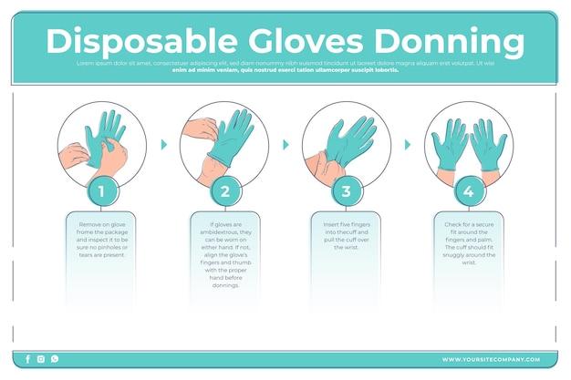 Blijf gezond wegwerphandschoenen aantrekken infographic Gratis Vector