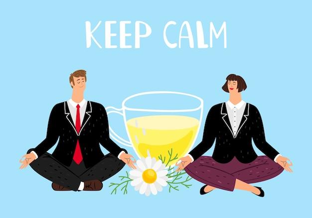 Blijf kalm concept. ondernemers mediteren Premium Vector