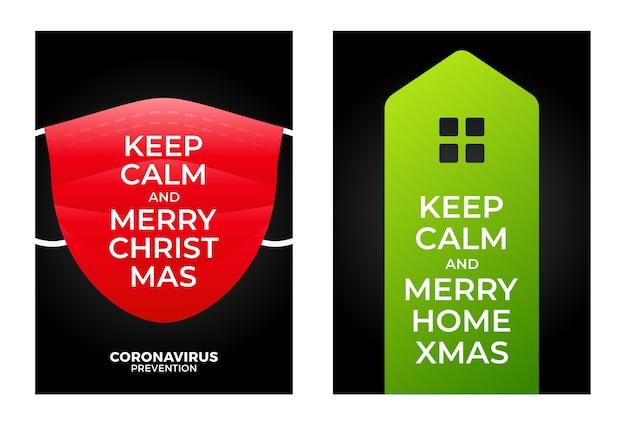 Blijf kalm, vrolijk thuiskerstmis. geïllustreerde kerst poster logo pictogram huis en gezichtsmasker. Premium Vector