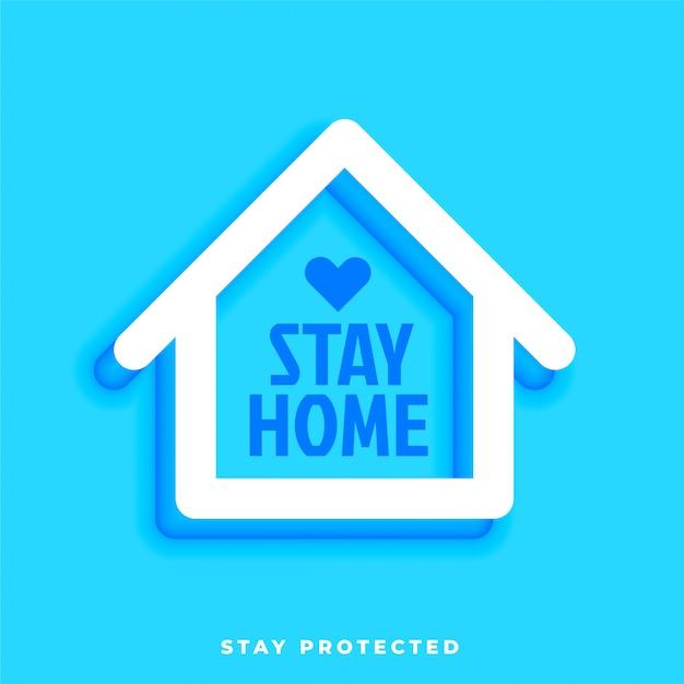 Blijf thuis blijf beschermd ontwerp met huissymbool Gratis Vector