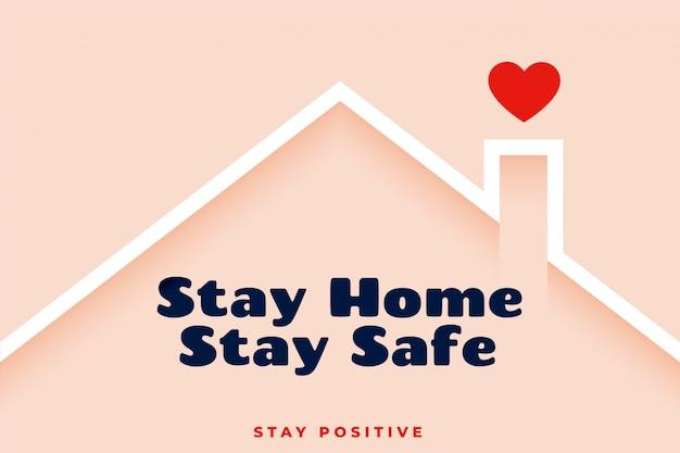 Blijf thuis blijf veilig bewustzijn achtergrondontwerp Gratis Vector