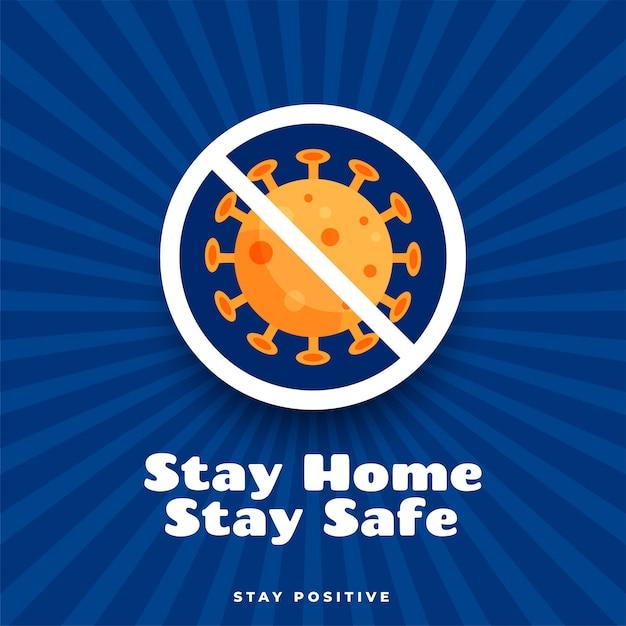 Blijf thuis, blijf veilig en positief posterontwerp Gratis Vector