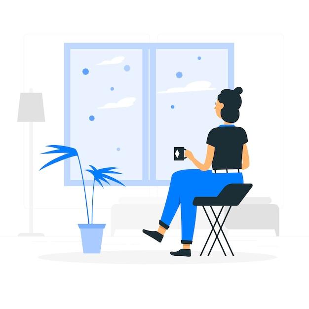 Blijf thuis concept illustratie Gratis Vector