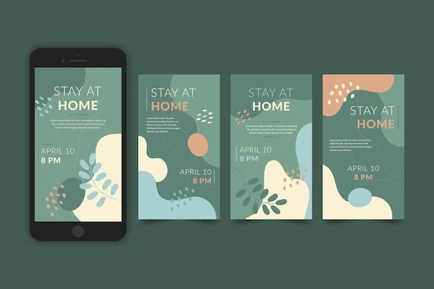 Blijf thuis evenement instagram verhaalverzamelingssjabloon Gratis Vector