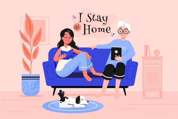 Blijf thuis illustratie concept Gratis Vector