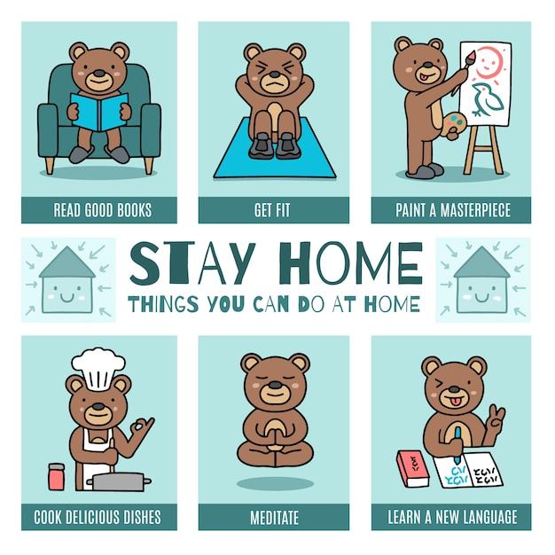 Blijf thuis infographic Gratis Vector