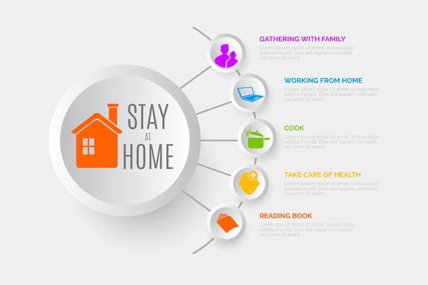 Blijf thuis infograpic concept Gratis Vector