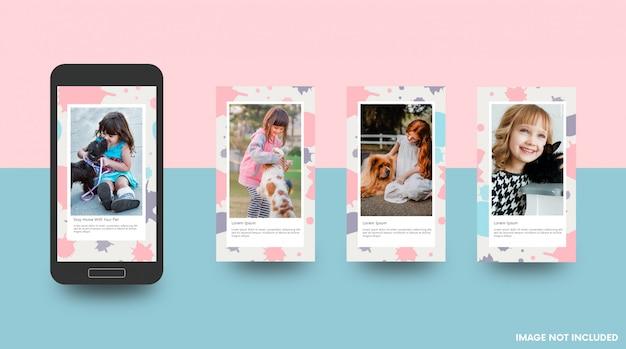 Blijf thuis met de schattige sjabloon van je sociale media-verhaal voor huisdieren Premium Vector