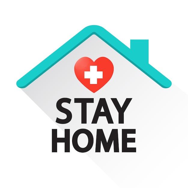 Blijf thuis met hart. coronavirus, motiverende zin in quarantaine. Premium Vector