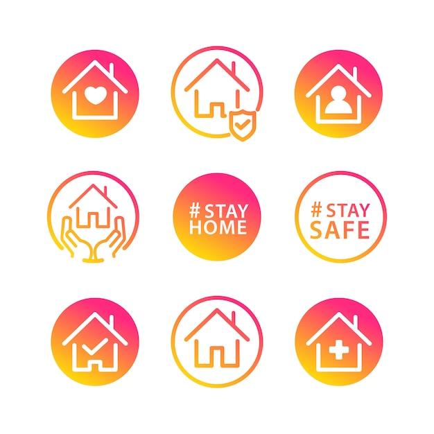Blijf thuis sociaal pictogram Gratis Vector