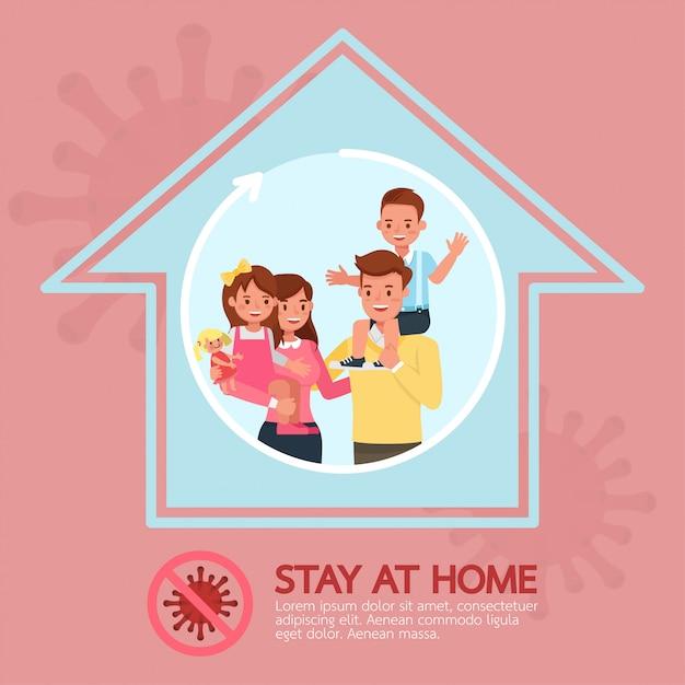 Blijf thuis, stop coronavirus concept character design no3 Premium Vector