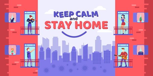 Blijf thuis Premium Vector